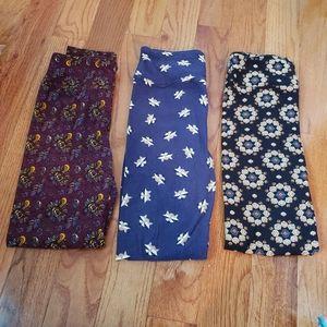 Lulalroe Leggings Lot.   3 pair. One Size  Raccoon